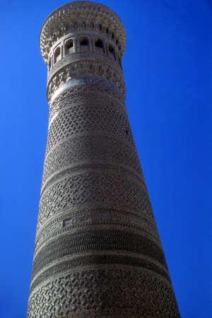 Minaret of mosque,  Bokhara former USSR, now Uzbekistan   Stock Photo