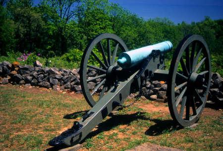 lb: Napoleon, 12 lb cannon, CSA lines  Gettysburg National Historical Battlefield, Pennsylvania    Stock Photo