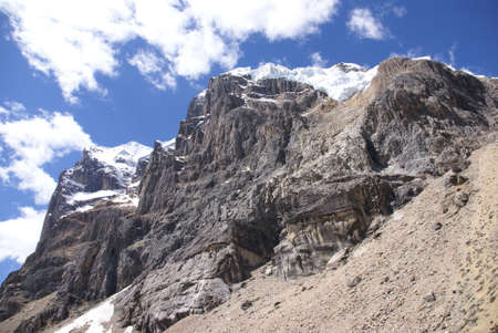 Hanging glaciers on steep rocky mountain, Cuyoc, Cordillera Huayhuash, Andes,Peru, South America