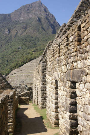 インカの家で細かい石造り、インカの遺跡マチュピチュ、ペルー、南アメリカ 写真素材