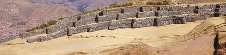 Panorama - Massive stones in Inca fortress walls,  Sacsayhuaman,  Cusco, Peru, South America Stock Photo - 3638816
