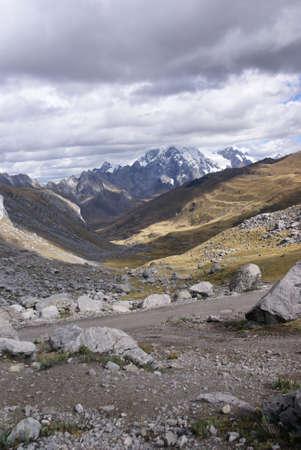 erratic: Broad glacial valley with erratic granite boulders,  Cordillera Huayhuash, Andes, Peru, South America