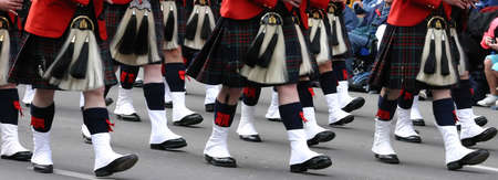 marchers: Kilted Bagpipe players, Calgary Stampede Parade Calgary Alberta