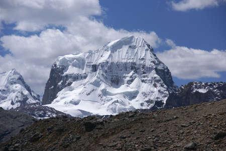 Steep snow faces on Andes mountain, Trapecio, Cordillera Huayhuash, Andes,Peru, South America
