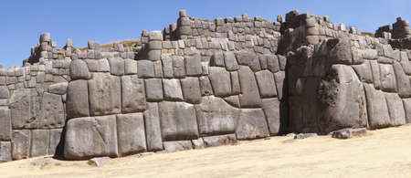 Massive stones in Inca fortress walls, Sacsayhuaman, Cusco,Peru, South America