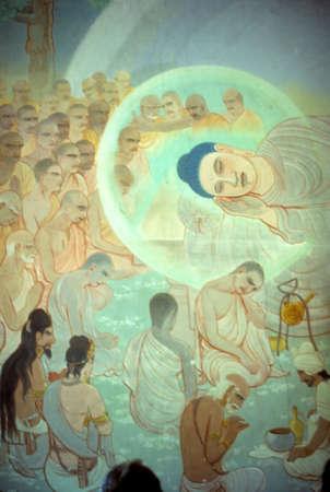 sarnath: Death of the Buddha, fresco Sarnath, [Varanasi  Benares] India
