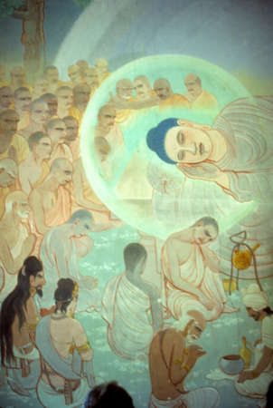 Dood van de Boeddha, fresco Sarnath, [Varanasi  Benares] India Stockfoto