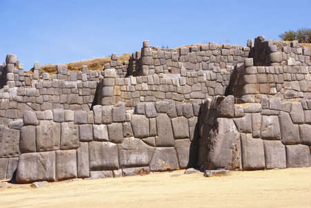 close fitting: Massive stone walls in Inca fortress walls,  Sacsayhuaman,  Cusco, Peru, South America   Stock Photo