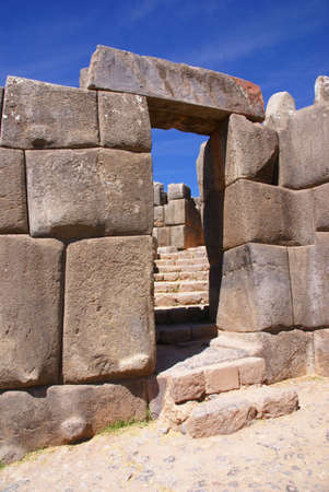 Massive stone gateway in Inca fortress walls, Sacsayhuaman, Cusco,Peru, South America  Stock Photo - 3690501