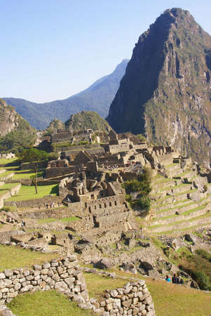 Huayna Picchu mountain overlooking  Inca ruins  Machu Picchu, Peru, South America   photo