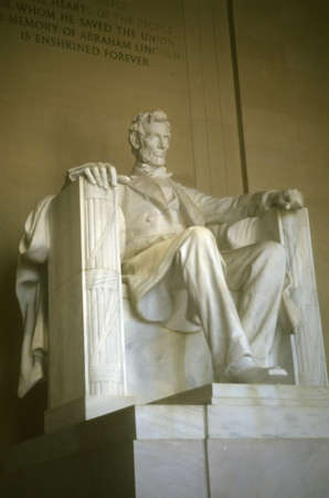 the emancipation: Seated sculpture of Abraham Lincoln,  Lincoln Memorial, Washington DC