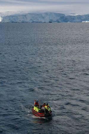 Polar landing boat, ferrying passengers to shore,   Argentine Base Esperanza,  Antarctica
