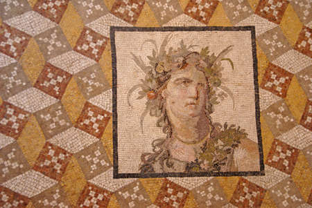 bacchus: Roman mosaic of Bacchus, god of wine ,  Metropolitan Museum of Art, New York City