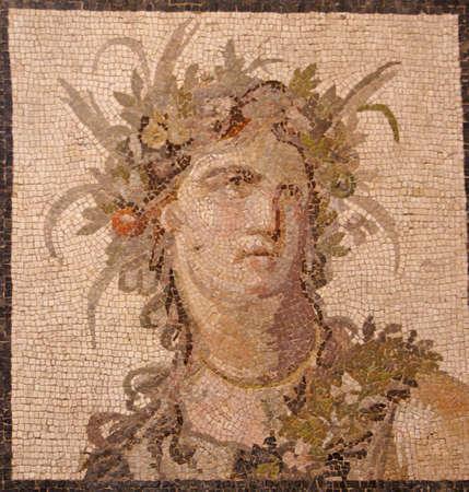 バッカス、ワイン、メトロポリタン美術館、ニューヨーク市の神のローマ時代のモザイク 写真素材 - 3780702