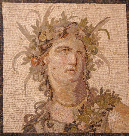 Roman mosaic of Bacchus, god of wine ,		Metropolitan Museum of Art,	New York City