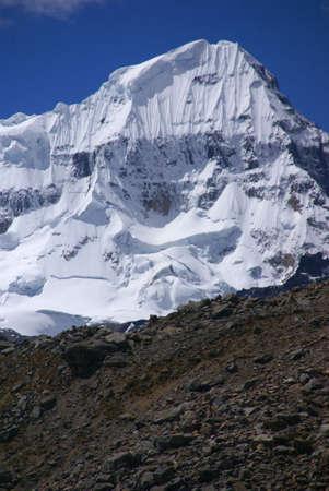 andes mountain: Steep snow faces on Andes mountain,  Trapecio,  Cordillera Huayhuash, Andes, Peru, South America   Stock Photo