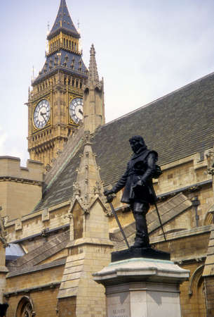 Oliver Cromwell monument,   Westminster Hall, London, UK