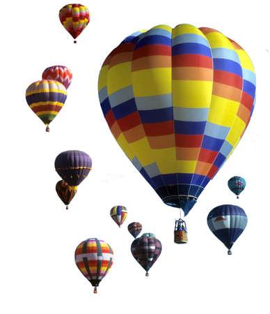 Hete lucht ballonnen treden tegen blauwe hemel, International Balloon Festival, Albuquerque, New Mexico Stockfoto