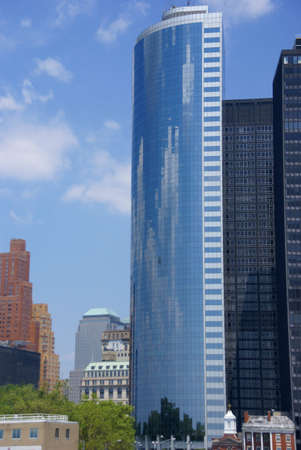 Reflections of clouds, pixelated impression of skyscrapers,  Lower Manhattan, Financial District, New York City