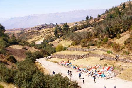 close fitting: Outdoor market of crafts set up near Inca ruins, Tambo Machay,  Cusco, Peru, South America