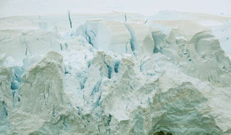 Detail, glacier floweing into ocean, icefalls,  Lemaire Channel, Antarctica