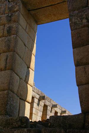 台形戸口インカ インカ家で細かい石造りの遺跡マチュピチュ、ペルー、南アメリカ 写真素材