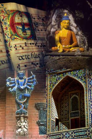 Religious montage - Christian manuscript, buddhist statue, Hindu temple, Moslem mosaic photo