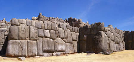 close fitting: Panorama - Massive stones in Inca fortress walls,  Sacsayhuaman,  Cusco, Peru, South America