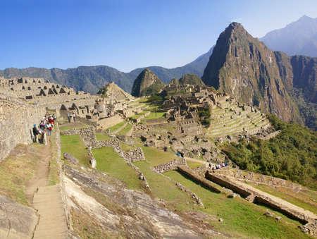 Panorama - Huayna Picchu mountain overlooking  Inca ruins  Machu Picchu, Peru, South America photo