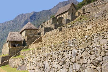 Panorama - Terraced fields and guardian huts,  Inca ruins  Machu Picchu, Peru, South America Stockfoto
