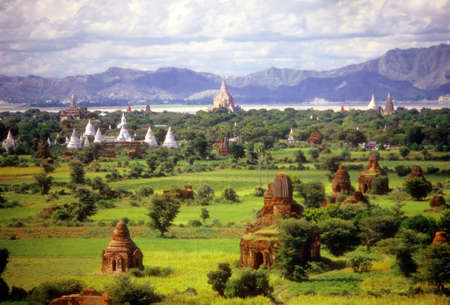 Temples on green Pagan plain  Pagan, Burma  Myanmar, Asia