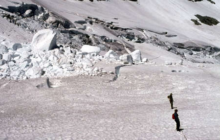 Climbers traversing crevassed glacier,  Whatcom Peak, North Cascades,  Washington, Pacific Northwest