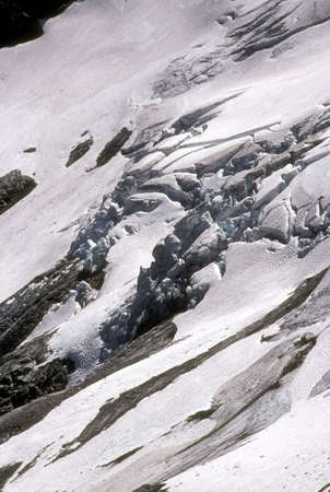 Heavily crevassed glacier and icefall,   Whatcom Peak, North Cascades,  Washington, Pacific Northwest
