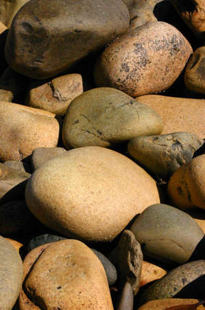 Beach rocks, rounded pebbles from ocean wear, Mount Desert Island, Acadia National Park, Seawall Maine