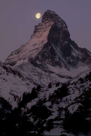 Moon over Matterhorn,  Zermatt, alps, Switzerland, Europe