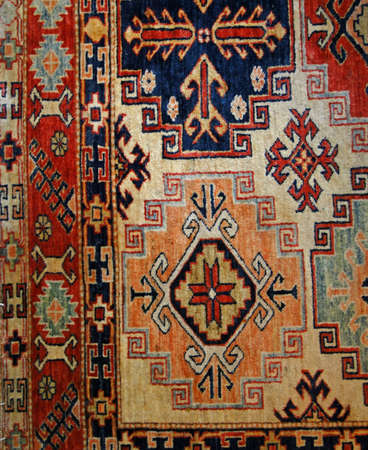 Turkish carpet, details of patterns in oriental design            스톡 콘텐츠