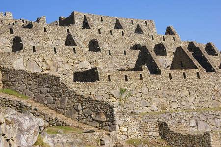 インカ石造りの家の屋根、マチュピチュ、ペルー、南アメリカなし