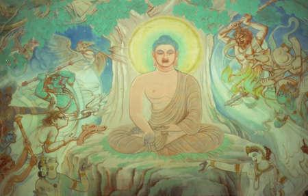 sarnath: Temptation of Buddha, fresco Sarnath, [Varanasi  Benares] India, Asia