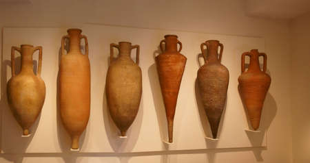 Amphorae used to transport wine or grain,ancient terra cotta pottery,Metropolitan Museum of Art,New York City