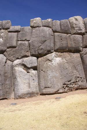 close fitting: Massive stone Inca fortress walls,  Sacsayhuaman,  Cusco, Peru, South America