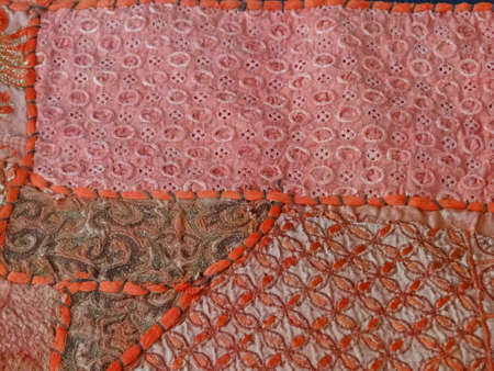 Rajasthani wall hanging made of quilted saris, detail                                  Фото со стока