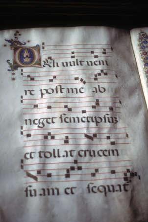 中世図書館、フィレンツェ、トスカーナ、イタリアでの装飾写本 写真素材