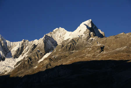 cordillera: Jirishanca mountain in high Andes,  Cordillera Huayhuash, Andes, Peru, South America