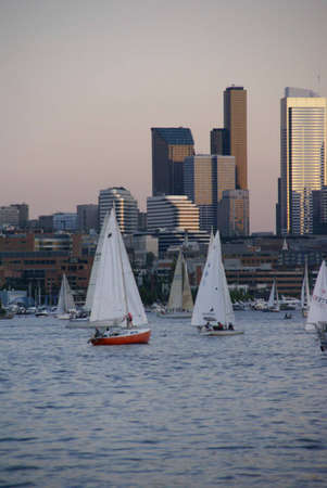 Seattle skyline, boats & marina, sunset,   Lake Union, Seattle, Pacific Northwest photo