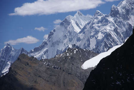 Steep snow faces on Andes mountain,  Cordillera Huayhuash, Andes,  Peru, South America