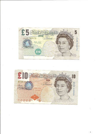 International currency - British pound notes in 2 denominations   Sajtókép