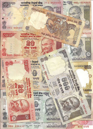 International currency -Indian rupee notes with portraits of Gandhi