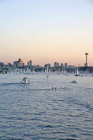 northwest: Seattle skyline, boats & marina, sunset,   Lake Union, Seattle, Pacific Northwest Stock Photo