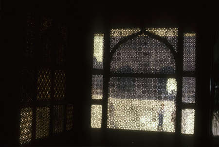 Exquisitely carved marble screen, Tomb of the Saint,  Fatepur Sikri, Agra, India Stock Photo