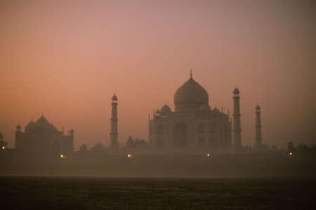 Taj Mahal glowing at dawn,  Agra, India